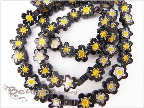 Millefiori Glass Beads Flat Flower Shaped Black Color