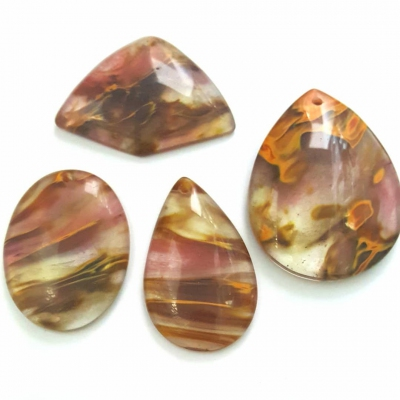 Fire Cherry Quartz Pendant, Set of 4