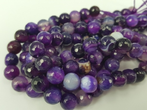 Banded Purple Agate Gemstone, 8MM Faceted Round shape