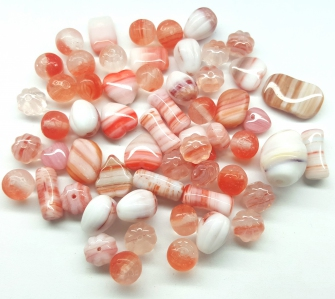 Czech Pressed Glass Beads, Vintage Style Mix, *Salmon Orange*