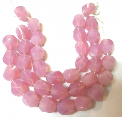 Czech Pressed Glass Beads, Lead-free, *Faceted Round*, *Milky Pink *