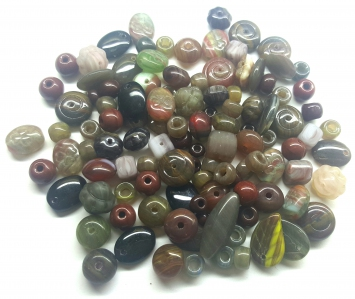 Czech Pressed Glass Beads, Mixed Shapes & Size, *Bloodstone*