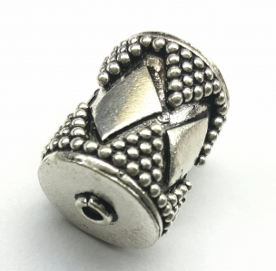 Handmade Sterling Silver .925 Focal Bead with Diamond Design, Cylinder-shaped