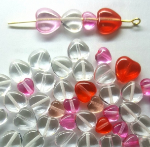 Czech Pressed Glass Beads, *Heart* shape, *Pink*