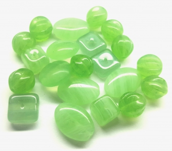 Preciosa Ornela ® Czech Pressed Glass Beads, 5 Shapes Mix, *Lawn Green*