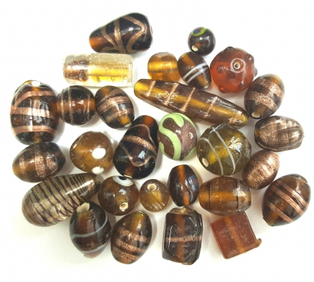 Handmade Semi-Lampwork Glass Beads, Mixed Shapes & Size, *Topaz* colors mix