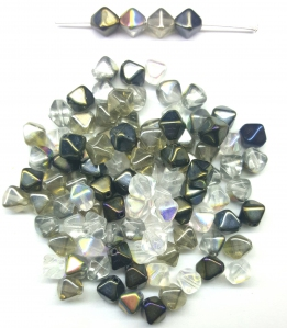 Czech Pressed Glass Beads, Smooth 6MM Bicone shaped, Assorted Grey