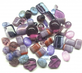Czech Pressed Glass Beads, Vintage Style Mix, *Dark Orchid*