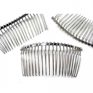 Hair Comb Base Finding, Rhodium electroplated (Iron base)