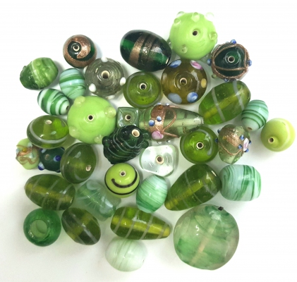 Handmade Semi-Lampwork Glass Beads, Mixed Shapes & Size, *Olive & Green*