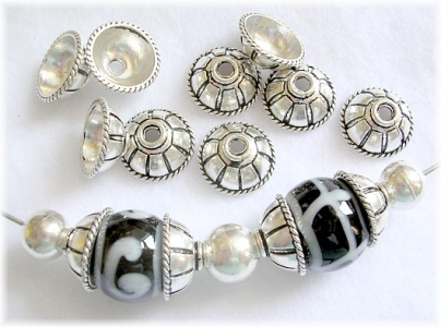 Handmade Sterling Silver .925 Cup-Bead with Fancy Design