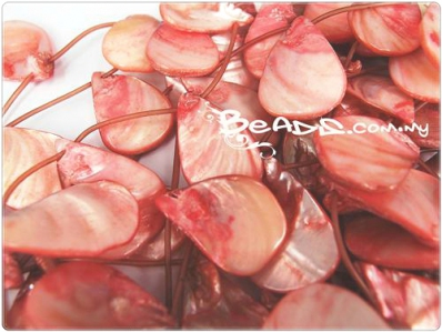 Natural Sea Shell Bead, Irregular Flat Teardrop shape (top-drilled), *Pink*