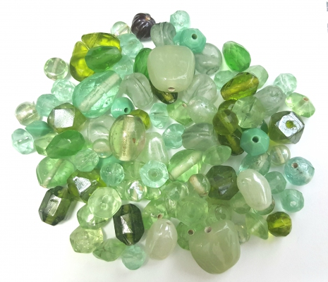 Handmade Semi-Lampwork Glass Beads, Mixed Shapes & Size, *Crystal Green*