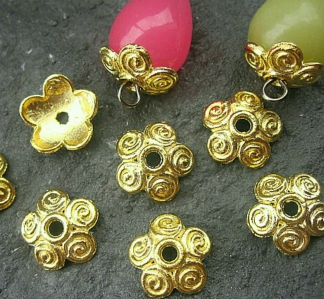 Bead Cup, *Bali Daisy* design, Gold electroplated