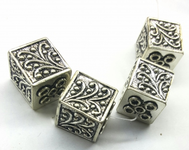 Handmade Sterling Silver .925 Focal Bead with Flower Design, Box-shaped