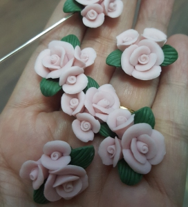 Porcelain Handmade Bead, *Frosted 3D Rose Bouquet, Pastel Pink*