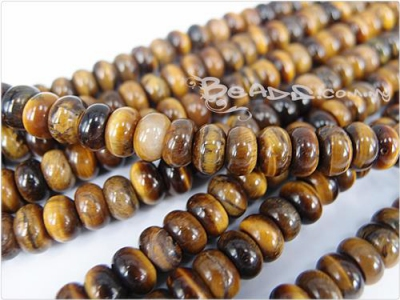 Gold Tiger Eye Gemstone Beads, Rondelle shape