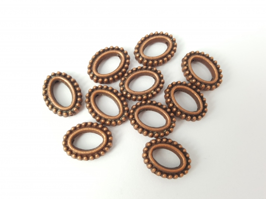 Bead Frame Connector, *Beaded Oval*, Antique Copper