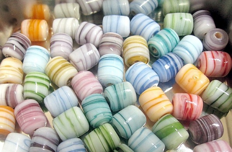 Melange Handmade Lampwork Beads, Smooth Tube shape, Mixed colors