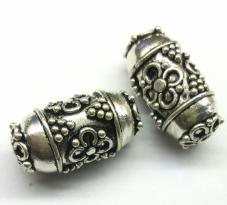 Handmade Sterling Silver .925 Focal Bead with Flower Design, Cylinder-shaped