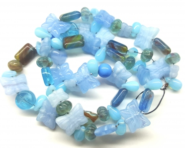 Czech Pressed Glass Beads, Vintage Style Mix, *Aqua Vintage Blue*