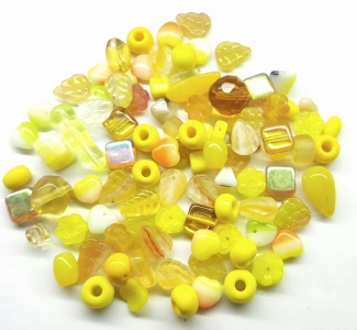 Czech Pressed Glass Beads, Mixed shapes/size, *Yellow Sunflower*
