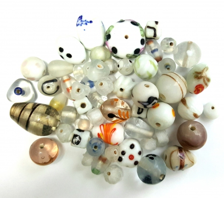 Handmade Semi-Lampwork Glass Beads, Mixed Shapes & Size,*White & Crystal*