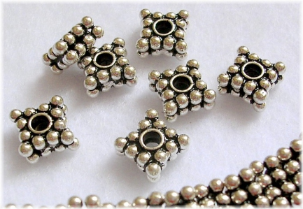 Handmade Sterling Silver .925 Spacer Beaded Bead, 10mm, Diamond-shaped