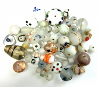 Handmade Semi-Lampwork Glass Beads, *White & Crystal*