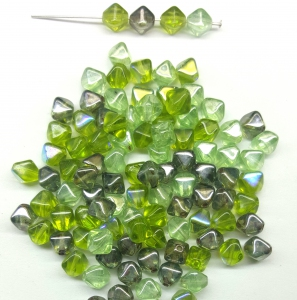 Czech Pressed Glass Beads, Smooth 6MM Bicone shaped, Assorted Green