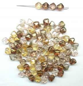 Czech Pressed Glass Beads, Smooth 6MM Bicone shaped, Topaz Rose