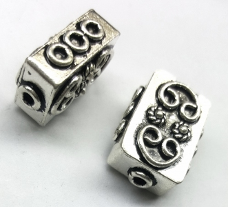 Handmade Sterling Silver .925 Focal Bead with Fancy Design, Rectangle-shaped