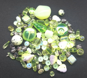 Czech Pressed Glass Beads, Mixed Shapes & Size, *Lemon Lime*