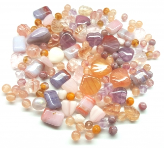 Czech Pressed Glass Beads, Vintage Style Mix, *Salmon Rose*