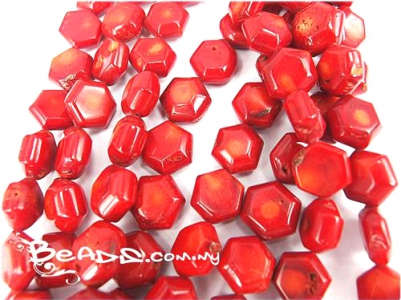 Natural Coral Beads, Puffy Hexagon shape