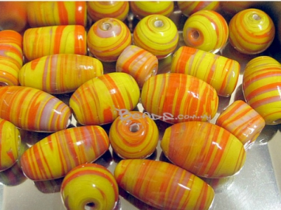 Melange Handmade Lampwork Beads, Mixed shape, Yellow -Orange color