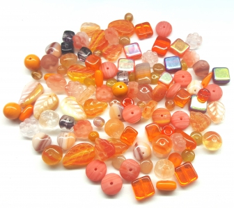 Czech Pressed Glass Beads, Mixed Shapes & Size, *Tangy Orange*
