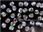 Czech Fire Polish Glass Beads, Faceted Round, *Crystal AB*