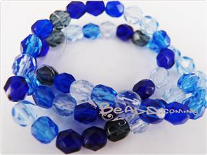 Czech Fire Polish Glass Beads, 6MM *Transparent Blue*