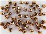 Czech Fire Polish Glass Beads, 4MM Faceted Round, *Dark Gold*