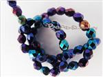 Czech Fire Polish Glass Beads, 4MM Faceted Round, *Purple Iris*