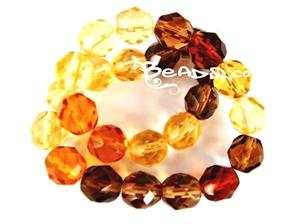 Czech Fire Polish Glass Beads, 8MM Transparent Topaz Mix