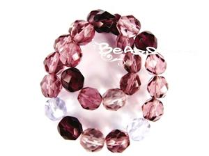 Czech Fire Polish Glass Beads, 8MM Transparent Lilac Mix