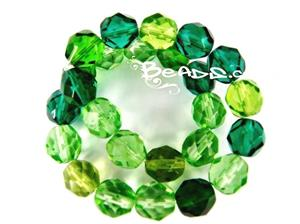 Czech Fire Polish Glass Beads, 8MM Transparent Green Mix