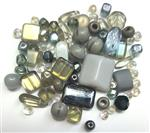 Czech Pressed Glass Beads, Mixed Shapes & Size, *Metallic, Silver & Hematite*