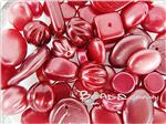 Preciosa ® Czech Pressed Glass Beads, Mixed Shape, *Dark Matte Red*