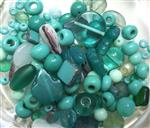 Czech Pressed Glass Beads, Mixed Shapes & Size, *Ocean Green*