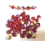 Czech Pressed Glass Beads, Smooth 6MM Bicone shaped, Rainbow Ruby