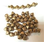 Czech Pressed Glass Beads, Smooth 6MM Bicone shaped, Genuine Golden Bronze