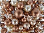 Preciosa ® Czech Faux Pearl Glass Beads, Mixed Shape & Size, *Copper Mix*
